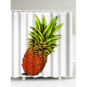 Pineapple Printed Water Repellent Shower Curtain - White - 180*200cm