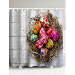 Easter Colorful Eggs Waterproof Shower Curtain - Light Grey - 180*200cm
