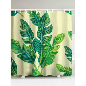 Banana Leaf Painting Polyester Waterproof Shower Curtain
