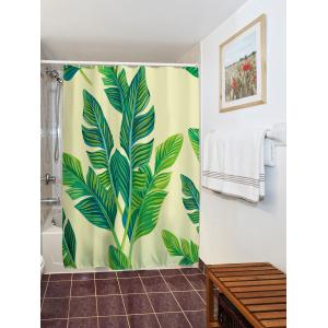 ... Banana Leaf Painting Polyester Waterproof Shower Curtain   GREEN  180*200CM