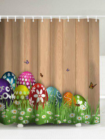 Buy Happy Easter Colorul Eggs Shower Curtain - Light Brown 180*180CM