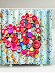 Heart Shape Colorful Buttons Polyester Waterproof Shower Curtain