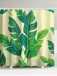 Banana Leaf Painting Polyester Waterproof Shower Curtain - GREEN