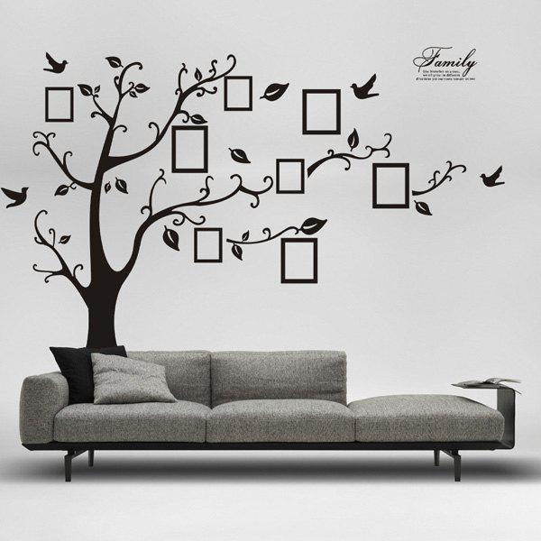 DIY Photo Frame Tree Home Decals Wall StickersHOME<br><br>Color: BLACK; Wall Sticker Type: Plane Wall Stickers; Functions: Decorative Wall Stickers; Theme: Cartoon; Material: PVC; Feature: Removable; Size(L*W)(CM): 60*90; Weight: 0.3951kg; Package Contents: 1 x Wall Stickers;