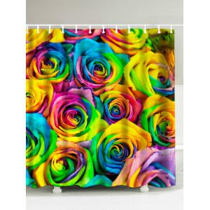 Colorful Rose Print Polyester Waterproof Shower Curtain