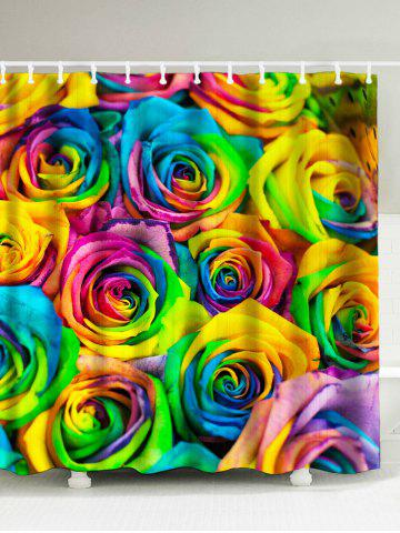 Colorful Rose Print Polyester Waterproof Shower Curtain - Colormix - 180*200cm