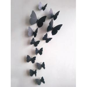 12Pcs/Set Simulation DIY Magnet Butterflies 3D Wall Stickers - Black - 60*90cm