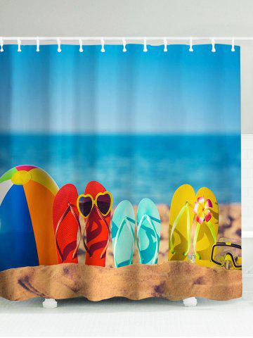 Outfit Beach Flip Flops Eco-Friendly Polyester Shower Curtain LAKE BLUE 180*180CM
