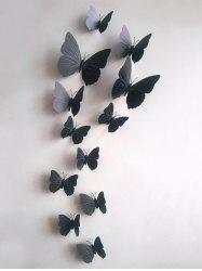 12Pcs/Set Simulation DIY Magnet Butterflies 3D Wall Stickers - BLACK
