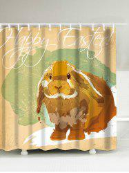 Happy Easter Rabbit Printed Waterproof Shower Curtain