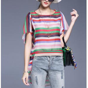Striped Asymmetrical Blouse with Pendant