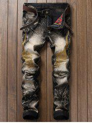 Vintage Wings Embroidery Ripped Jeans - COLORMIX