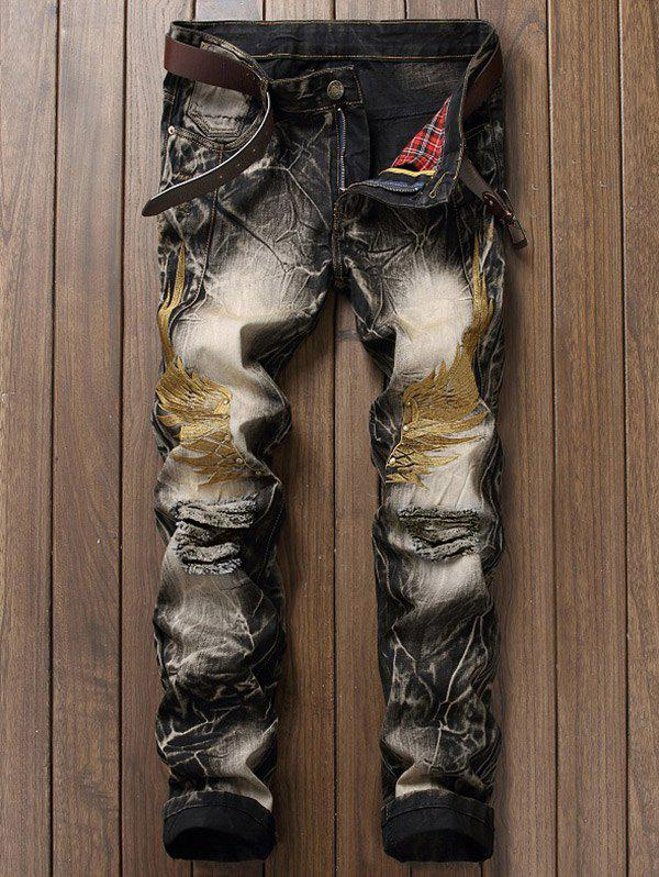 Vintage Wings Embroidery Ripped JeansMEN<br><br>Size: 36; Color: COLORMIX; Material: Jeans; Pant Length: Long Pants; Wash: Destroy Wash; Fit Type: Regular; Waist Type: Mid; Closure Type: Zipper Fly; Weight: 0.6170kg; Pant Style: Straight; Package Contents: 1 x Jeans; With Belt: No;
