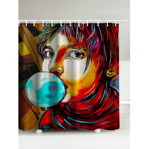 Boy Blowing Bubbles Print Waterproof Shower Curtain