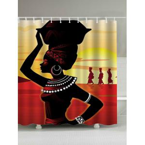 Afro Girl Print Waterproof Shower Curtain - Colormix - 180*200cm