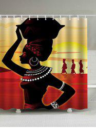 Afro Girl Print Waterproof Shower Curtain - COLORMIX