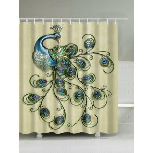 Decor Peacock Print Waterproof Shower Curtain