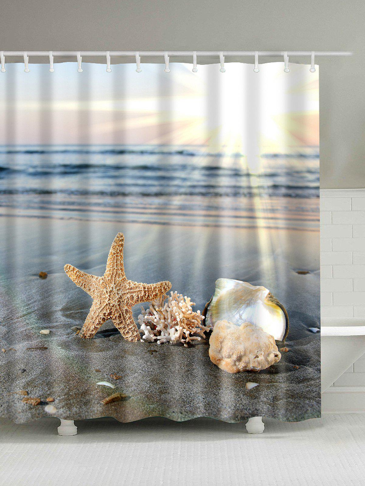 Sunny Beach Print Waterproof Shower CurtainHOME<br><br>Size: 180*180CM; Color: COLORMIX; Products Type: Shower Curtains; Materials: Polyester; Style: Beach Style; Number of Hook Holes: W59inch*L71inch: 10;  W71inch*L71inch: 12;  W71inch*L79inch: 12.; Weight: 0.5400kg; Package Contents: 1 x Shower Curtain 1 x Hooks(Set);