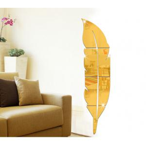 3D Acrylic Removable Feather Mirror Wall Sticker Decor