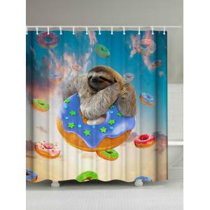 Cute Sloth and Donuts Shower Curtain - Colormix - W71 Inch * L79 Inch