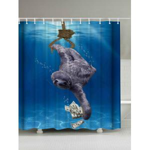 Sea Sloth Print Shower Curtain - Blue - W71 Inch * L79 Inch
