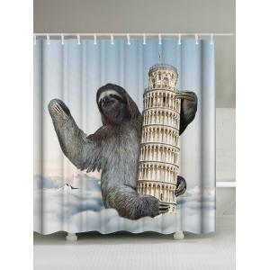 Sloth Climbing Leaning Tower Print Shower Curtain - Colormix - W71 Inch * L79 Inch