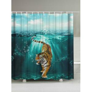 Tiger Under Water Print Waterproof Shower Curtain