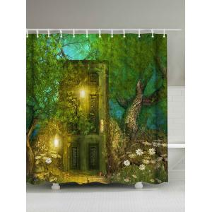 Retro Forest Door Print Waterproof Shower Curtain - Green - W71 Inch * L79 Inch