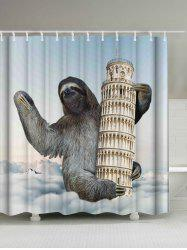 Sloth Climbing Leaning Tower Print Shower Curtain