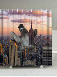Sloth Climbing Empire State Building Waterproof Shower Curtain