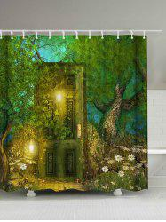 Retro Forest Door Print Waterproof Shower Curtain