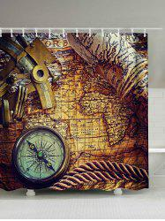 Retro Compass Map Print Waterproof Shower Curtain