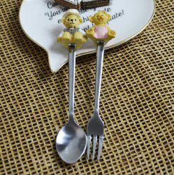 Bear Decorated Stainless Steel Fork Spoon Set - GINGER