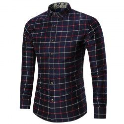 Plus Size Long Sleeve Grid Shirt
