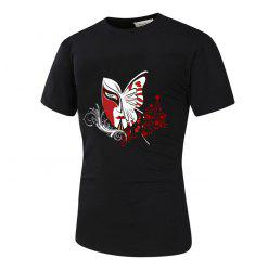 3D Mask Butterfly and Floral Print Novelty T-Shirt