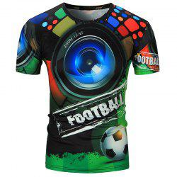 Short Sleeve 3D Shot and Football Print T-Shirt