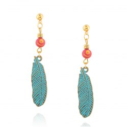 Alloy Beads Feather Drop Earrings