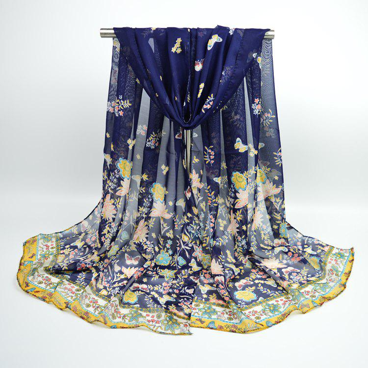 Lightsome Butterfly Anthemy Blossom Printing Vintage Chiffon ScarfACCESSORIES<br><br>Color: DEEP BLUE; Scarf Type: Scarf; Group: Adult; Gender: For Women; Style: Vintage; Material: Polyester; Pattern Type: Floral,Print; Season: Fall,Spring,Summer,Winter; Scarf Length: 155CM; Scarf Width (CM): 50CM; Weight: 0.0400kg; Package Contents: 1 x Scarf;