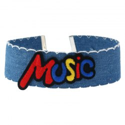 Music Embroidery Denim Choker Necklace