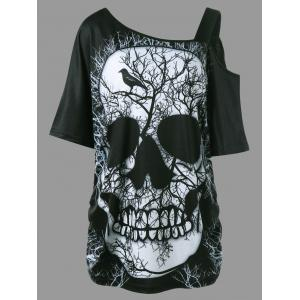Funny Slogan Shirred Side Skew Collar Long Skull T-shirt