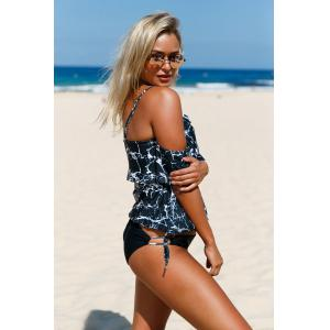 Splash Ink Cold Shoulder Blouson Tankini Set - BLACK S