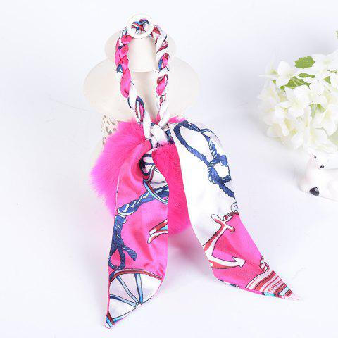 Outfits Silk Bowknot Puff Ball Keyring PINK
