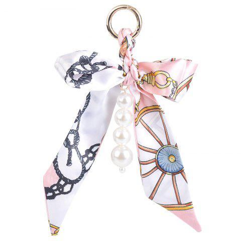 Online Fake Pearls Silk Bowknot Keychain