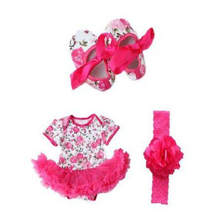 Outfits Cute Rose Flower Newborn Baby Girls Romper Tutu Dress Jumpsuit Outfits Clothes with Shoes Headband