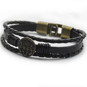 Braided Faux Leather Round Badge Bracelet