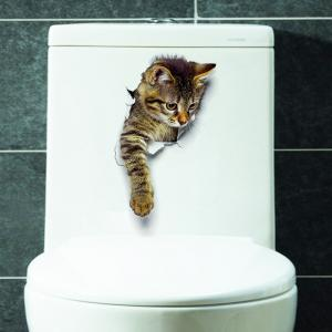 Cat Animal 3D Removable Bathroom Wall Sticker - Brown - Pattern C