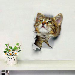 Cat Animal 3D Removable Bathroom Wall Sticker - BROWN