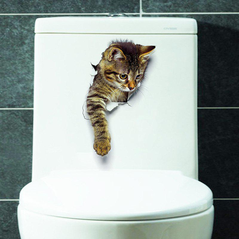 Cat Animal 3D Removable Bathroom Wall StickerHOME<br><br>Size: PATTERN C; Color: BROWN; Wall Sticker Type: 3D Wall Stickers; Functions: Decorative Wall Stickers; Theme: Animals; Material: PVC; Feature: Removable; Size(L*W)(CM): 25*17CM; Weight: 0.0840kg; Package Contents: 1 x Wall Sticker;