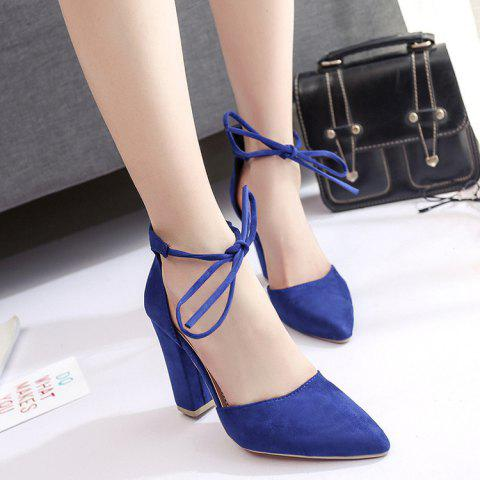 Ankle Lace Chunky Heel Pointed Toe Pumps - Blue - 38