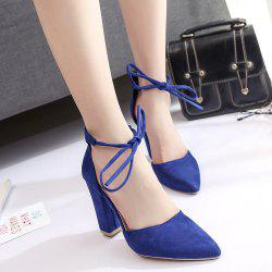 Ankle Lace Chunky Heel Pointed Toe Pumps